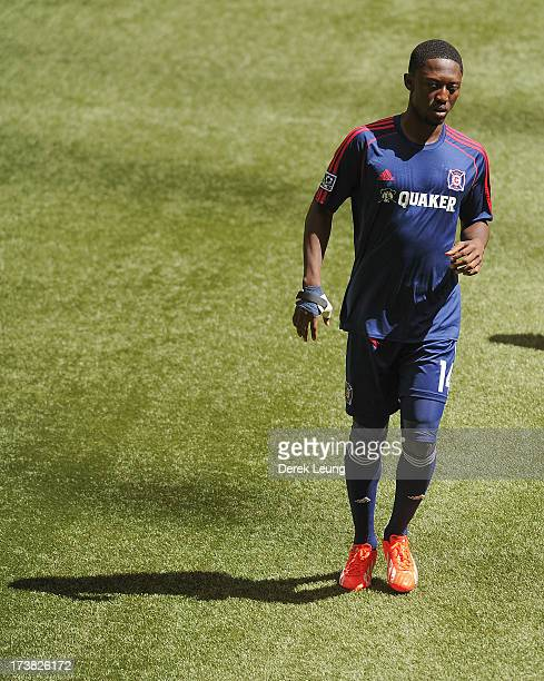 Patrick Nyarko of Chicago Fire in action during warmups prior to an MLS match against the Vancouver Whitecaps at BC Place on July 14 2013 in...