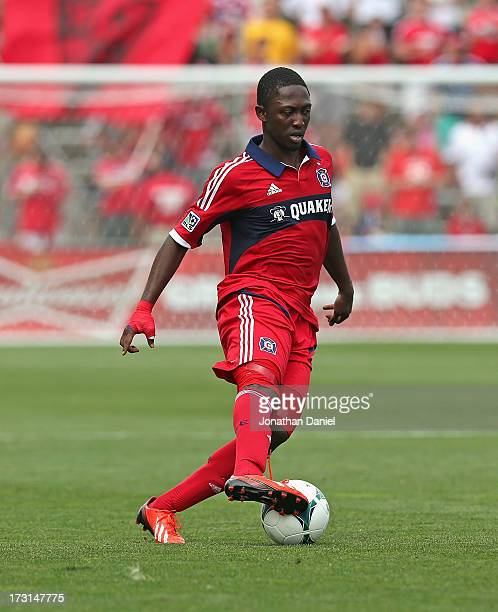 Patrick Nyarko of the Chicago Fire controls the ball against Sporting Kansas City during an MLS match at Toyota Park on July 7 2013 in Bridgeview...