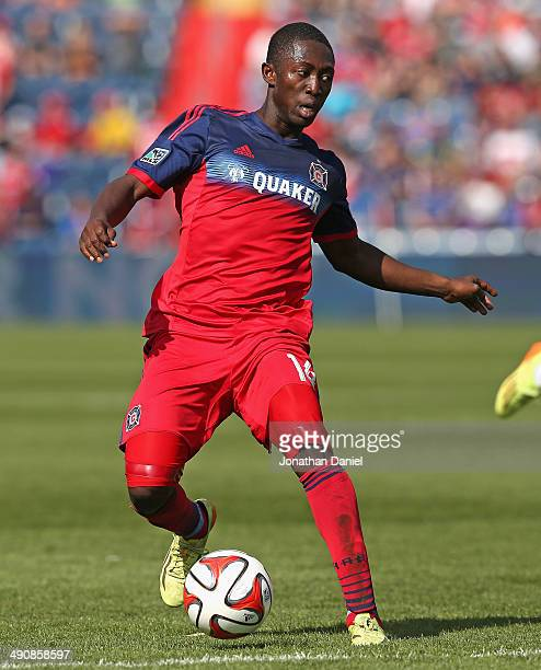 Patrick Nyarko of the Chicago Fire controls the ball against the New England Revolution during an MLS match at Toyota Park on April19 2014 in...