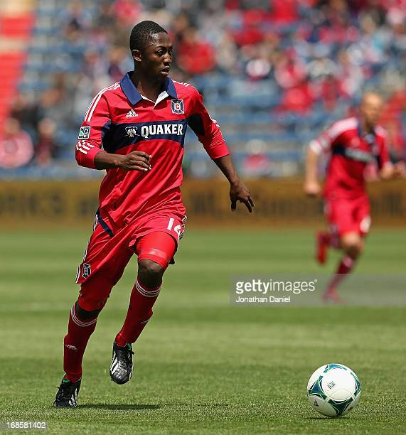 Patrick Nyarko of the Chicago Fire controls the ball against the Philadelphia Union during an MLS match at Toyota Park on May 11 2013 in Bridgeview...