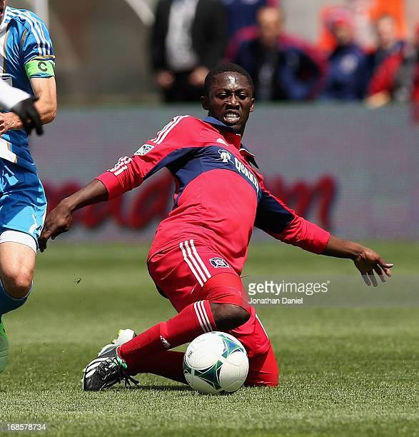 Patrick Nyarko of the Chicago Fire dives for the ball against the Philadelphia Union during an MLS match at Toyota Park on May 11 2013 in Bridgeview...