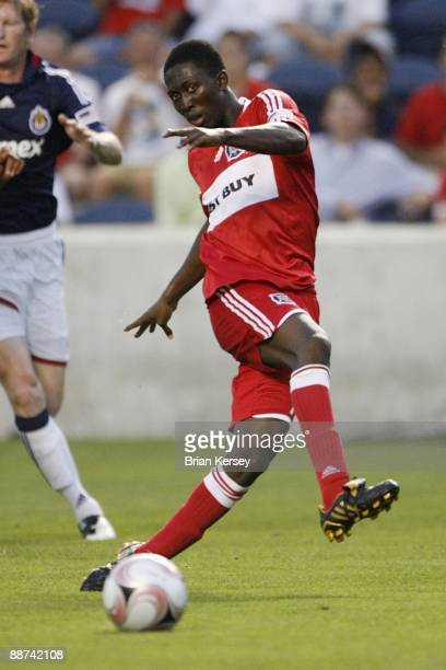 Patrick Nyarko of the Chicago Fire kicks the ball during the second half against Chivas USA during the match in the SuperLiga 2009 soccer tournament...