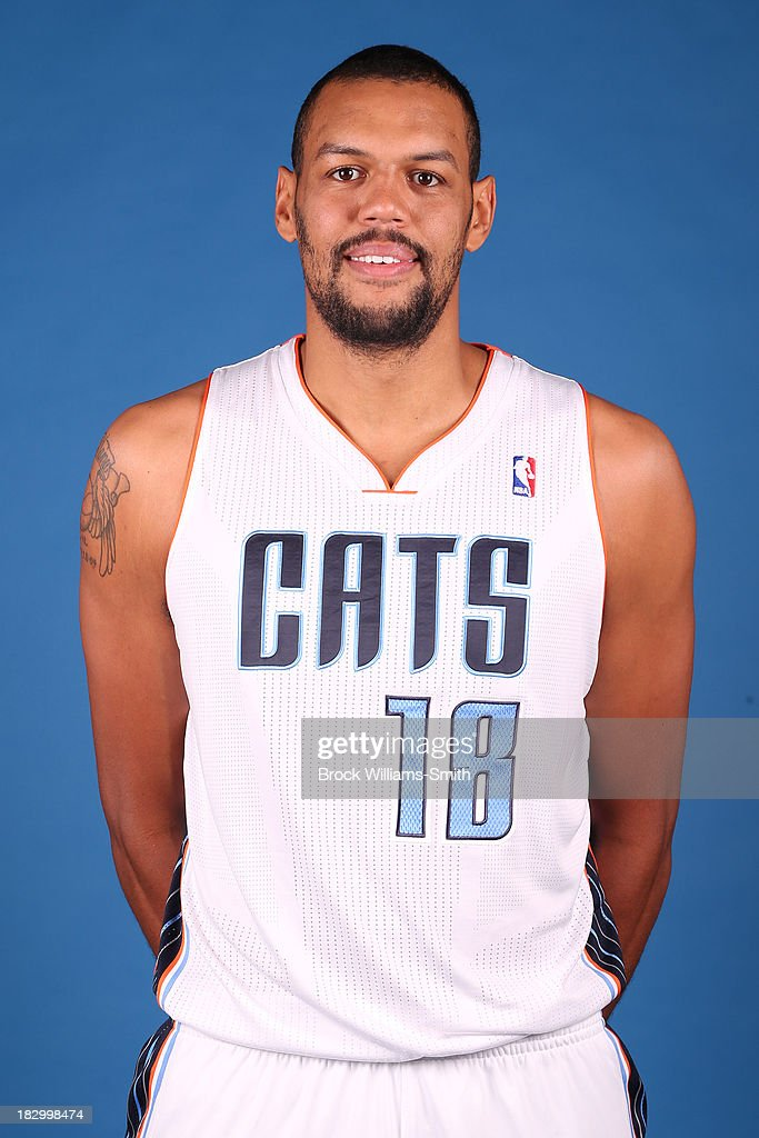 Patrick O'Bryant #18 of the Charlotte Bobcats poses for media day at the Time Warner Cable Arena on September 20, 2013 in Charlotte, North Carolina.
