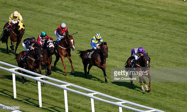 Patrick O'Donnell riding Alpha Delta Whisky win The Palmers The Stretch Tent Company Apprentice Handicap Stakes at Newbury racecourse on July 02 2015...