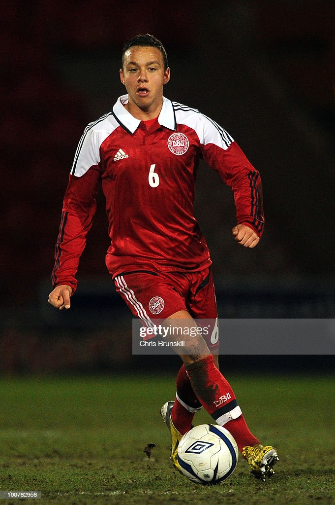 Patrick Olsen of Denmark U19 in action during the International Match between England U19 and Denmark U19 at Keepmoat Stadium on February 5, 2013 in Doncaster, England.