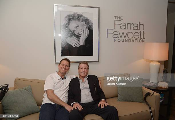 Patrick O'Neal and Ryan O'Neal attend the Farrah Fawcett 5th Anniversary Reception at the Farrah Fawcett Foundation on June 25 2014 in Beverly Hills...