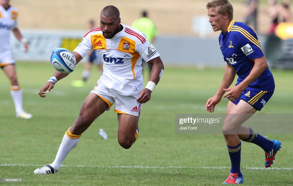 Patrick Osborne of the Chiefs chases down a loose ball during the 2013 Super Rugby pre-season friendly match between the Chiefs and the Highlanders at Owen Delany Park, Taupo on February 2, 2013 in Taupo, New Zealand.