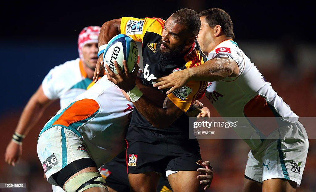 Patrick Osborne of the Chiefs is tackled during the round three Super Rugby match between the Chiefs and the Cheetahs at Waikato Stadium on March 2, 2013 in Hamilton, New Zealand.