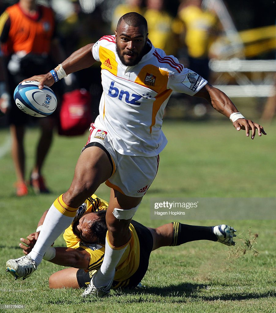 Patrick Osborne of the Chiefs makes a break during the Super Rugby trial match between the Hurricanes and the Chiefs at Mangatainoka RFC on February 16, 2013 in Mangatainoka, New Zealand.