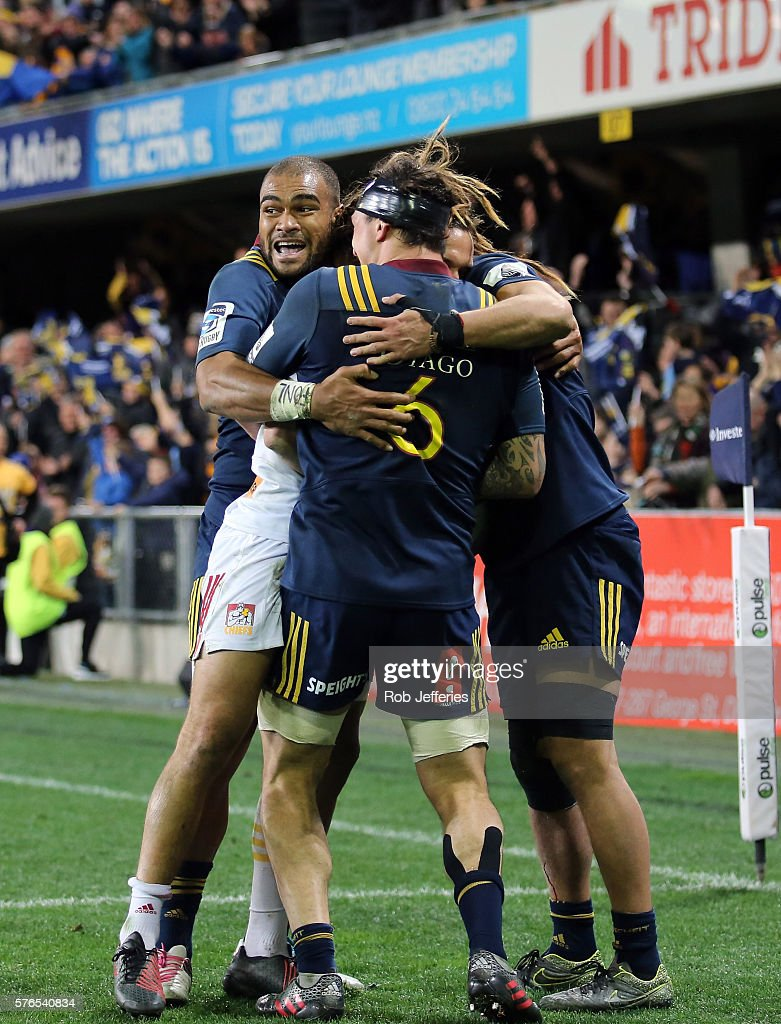 Patrick Osborne of the Highlanders celebrates the try of Dan Pryor during the round 17 Super Rugby match between the Highlanders and the Chiefs at Forsyth Barr Stadium on July 16, 2016 in Dunedin, New Zealand.