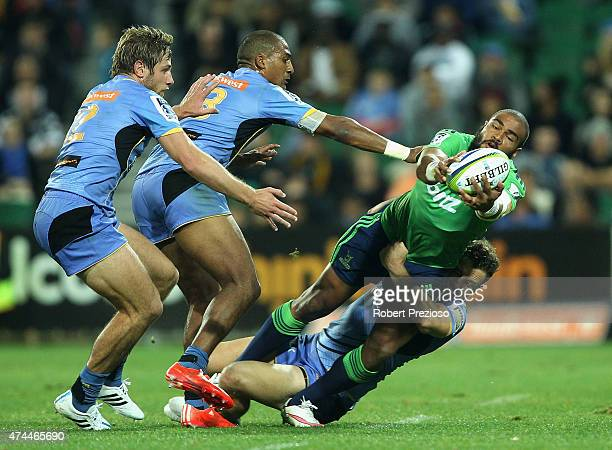 Patrick Osborne of the Highlanders is tackled during the Super Rugby round 15 match between the Force and the Highlanders at nib Stadium on May 23...