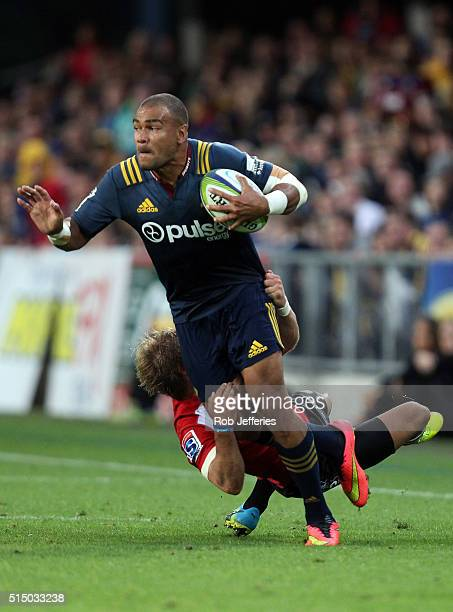 Patrick Osborne of the Highlanders on the attack during the round three Super Rugby match between the Highlanders and the Lions at Rugby Park on...