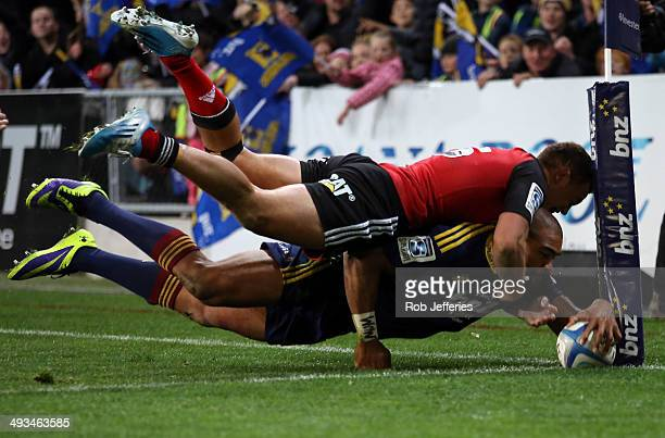 Patrick Osborne of the Highlanders scores a try that was disallowed during the round 15 Super Rugby match between the Highlanders and the Crusaders...