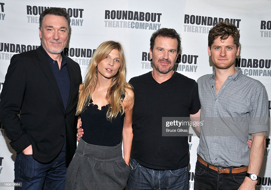 Patrick Page, Clemence Poesy, Douglas Hodge and Kyle Soller attend the 'Cyrano de Bergerac' cast photocall on August 23, 2012 in New York City.