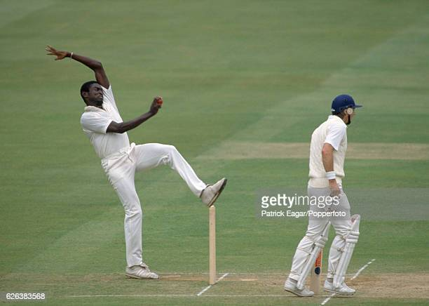 Patrick Patterson bowling for West Indies during the 2nd Test match between England and West Indies at Lord's Cricket Ground London 16th June 1988...
