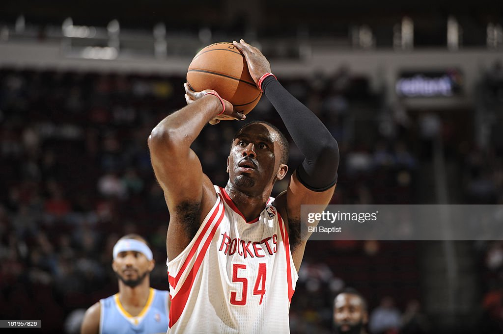 <a gi-track='captionPersonalityLinkClicked' href=/galleries/search?phrase=Patrick+Patterson&family=editorial&specificpeople=2928099 ng-click='$event.stopPropagation()'>Patrick Patterson</a> #54 of the Houston Rockets attempts a foul shot against the Denver Nuggets on January 23, 2013 at the Toyota Center in Houston, Texas.