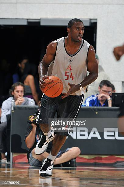Patrick Patterson of the Houston Rockets brings the ball up court against the Dallas Mavericks during NBA Summer League on July 10 2010 at Cox...