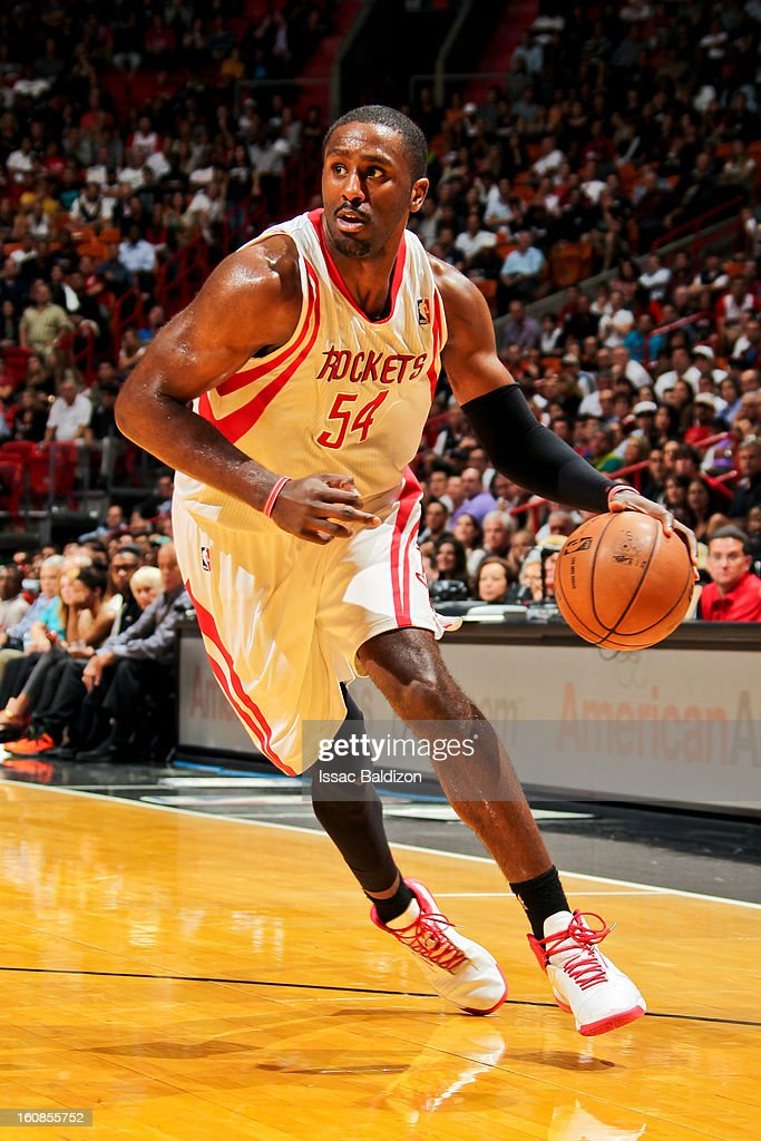 Patrick Patterson #54 of the Houston Rockets drives against the Miami Heat on February 6, 2013 at American Airlines Arena in Miami, Florida.
