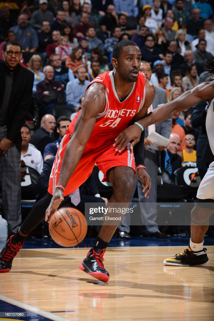 Patrick Patterson #54 of the Houston Rockets drives to the basket against the Denver Nuggets on January 30, 2013 at the Pepsi Center in Denver, Colorado.