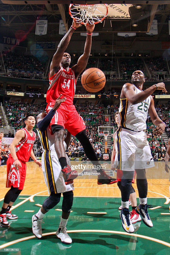 <a gi-track='captionPersonalityLinkClicked' href=/galleries/search?phrase=Patrick+Patterson&family=editorial&specificpeople=2928099 ng-click='$event.stopPropagation()'>Patrick Patterson</a> #54 of the Houston Rockets dunks against <a gi-track='captionPersonalityLinkClicked' href=/galleries/search?phrase=Al+Jefferson&family=editorial&specificpeople=201604 ng-click='$event.stopPropagation()'>Al Jefferson</a> #25 of the Utah Jazz at Energy Solutions Arena on November 19, 2012 in Salt Lake City, Utah.