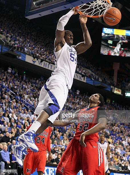 Patrick Patterson of the Kentucky Wildcats dunks the ball during the SEC game against the Ole Miss Rebels on February 2 2010 at Rupp Arena in...