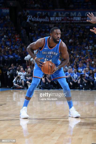Patrick Patterson of the Oklahoma City Thunder handles the ball against the New York Knicks on October 19 2017 at Chesapeake Energy Arena in Oklahoma...