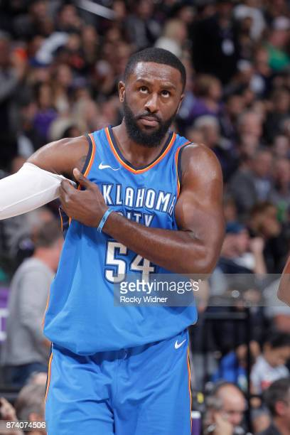 Patrick Patterson of the Oklahoma City Thunder looks on during the game against the Sacramento Kings on November 7 2017 at Golden 1 Center in...