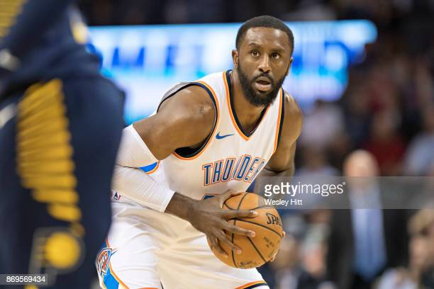 Patrick Patterson of the Oklahoma City Thunder looks to make a pass during a game against the Indiana Pacers at the Chesapeake Energy Arena on...