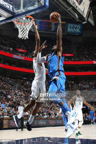 Patrick Patterson of the Oklahoma City Thunder shoots the ball against the Utah Jazz during the game on October 21 2017 at vivintSmartHome Arena in...