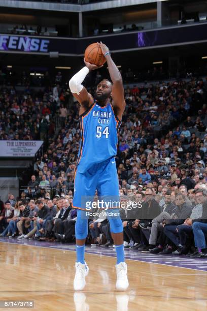 Patrick Patterson of the Oklahoma City Thunder shoots the ball against the Sacramento Kings on November 7 2017 at Golden 1 Center in Sacramento...