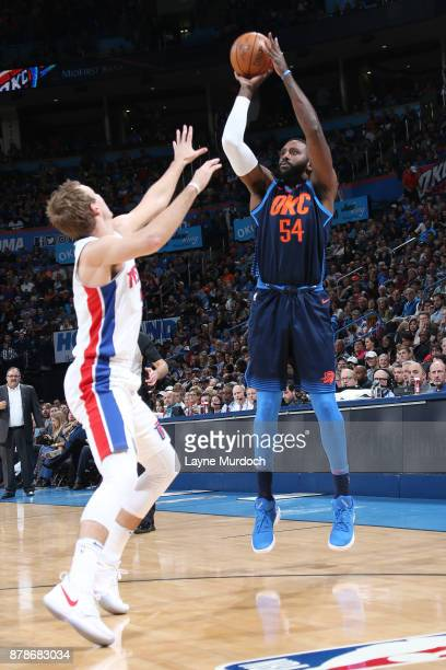Patrick Patterson of the Oklahoma City Thunder shoots the ball against the Detroit Pistons on November 24 2017 at Chesapeake Energy Arena in Oklahoma...