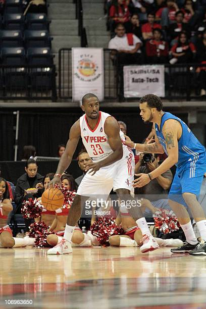 Patrick Patterson of the Rio Grande Vipers dribbles against Keith Clark of the Texas Legends on November 18 2010 at the State Farm Arena in Hidalgo...