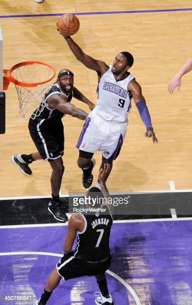 Patrick Patterson of the Sacramento Kings shoots a layup against the Brooklyn Nets on November 13 2013 at Sleep Train Arena in Sacramento California...