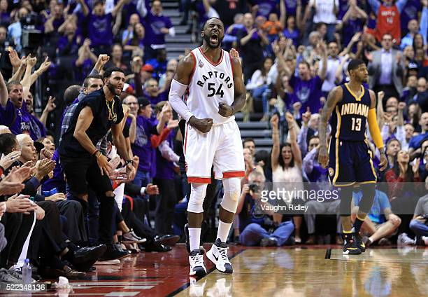 Patrick Patterson of the Toronto Raptors celebrates a basket in the first half of Game Two against the Indiana Pacers of the Eastern Conference...