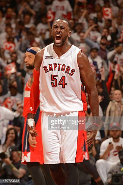 Patrick Patterson of the Toronto Raptors celebrates during a game against the Washington Wizards during Game Two of the Eastern Conference...
