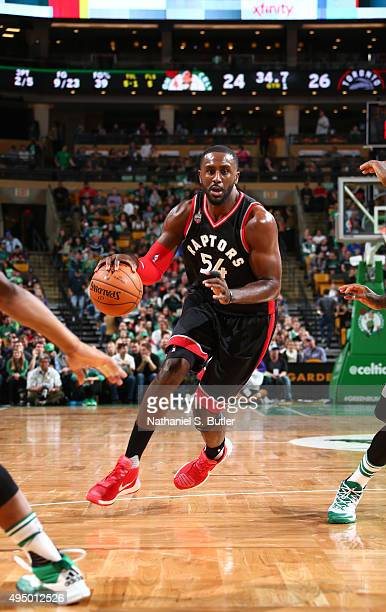 Patrick Patterson of the Toronto Raptors drives during a game against the Boston Celtics on October 30 2015 at TD Garden in Boston Massachusetts NOTE...