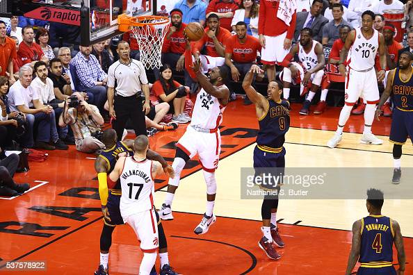 Patrick Patterson of the Toronto Raptors drives to the basket against the Cleveland Cavaliers during Game Six of the NBA Eastern Conference Finals at...