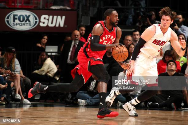Patrick Patterson of the Toronto Raptors drives to the basket during the game against the Miami Heat on March 23 2017 at AmericanAirlines Arena in...