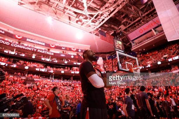 Patrick Patterson of the Toronto Raptors during the national anthem before the game against the Milwaukee Bucks during Game Five of the Eastern...