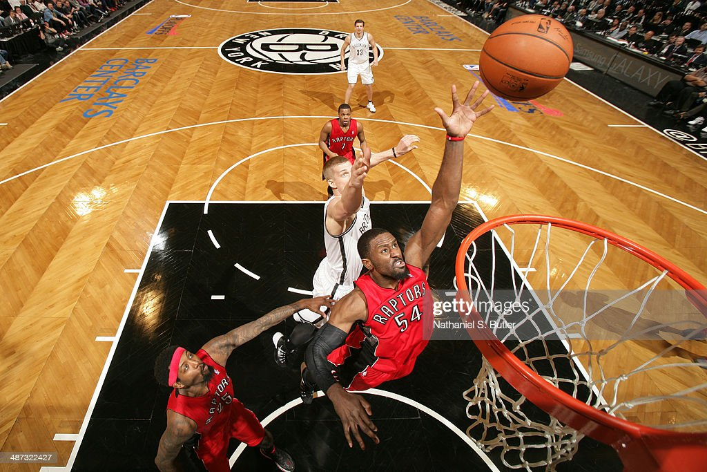 <a gi-track='captionPersonalityLinkClicked' href=/galleries/search?phrase=Patrick+Patterson&family=editorial&specificpeople=2928099 ng-click='$event.stopPropagation()'>Patrick Patterson</a> #54 of the Toronto Raptors goes up for a rebound against the Brooklyn Nets during Game Four of the Eastern Conference Quarterfinals at Barclays Center in Brooklyn.