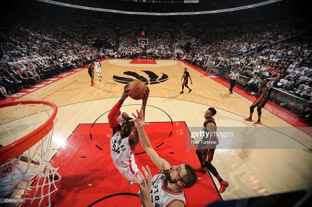 Patrick Patterson #54 of the Toronto Raptors grabs the rebound against the Miami Heat in Game Two of the Eastern Conference Semifinals on May 5, 2016 at the Air Canada Centre in Toronto, Ontario, Canada.