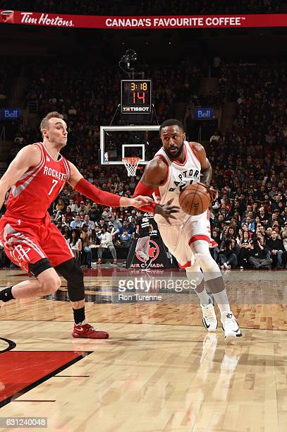 Patrick Patterson of the Toronto Raptors handles the ball during a game against the Houston Rockets on January 8 2017 at the Air Canada Centre in...