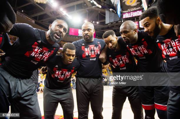 Patrick Patterson of the Toronto Raptors leads his teammates in a huddle prior to Game One of the NBA Eastern Conference semifinals game one against...