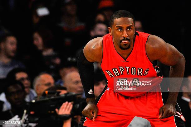 Patrick Patterson of the Toronto Raptors looks on during a game against the New York Knicks at Madison Square Garden on October 13 2014 in New York...