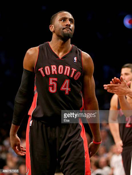 Patrick Patterson of the Toronto Raptors reacts after missing a free thrwo in the final minutes of the game against the Brooklyn Nets in Game Three...