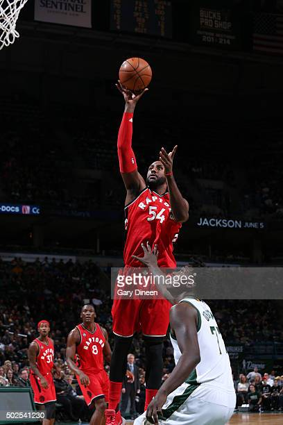Patrick Patterson of the Toronto Raptors shoots against the Milwaukee Bucks during the game on December 26 2015 at BMO Harris Bradley Center in...