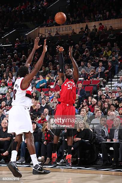 Patrick Patterson of the Toronto Raptors shoots the ball against the Portland Trail Blazers during the game on December 26 2016 at the Moda Center in...
