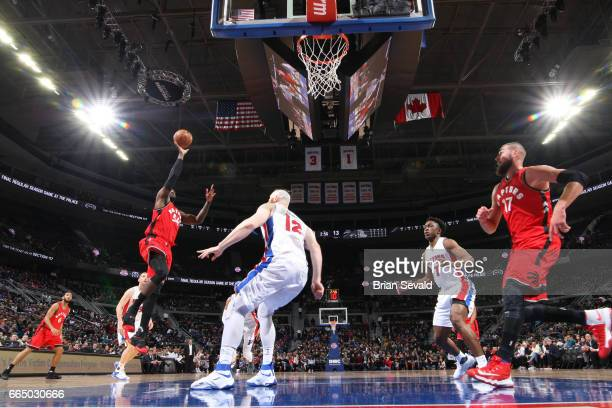Patrick Patterson of the Toronto Raptors shoots the ball against the Detroit Pistons on April 5 2017 at The Palace of Auburn Hills in Auburn Hills...