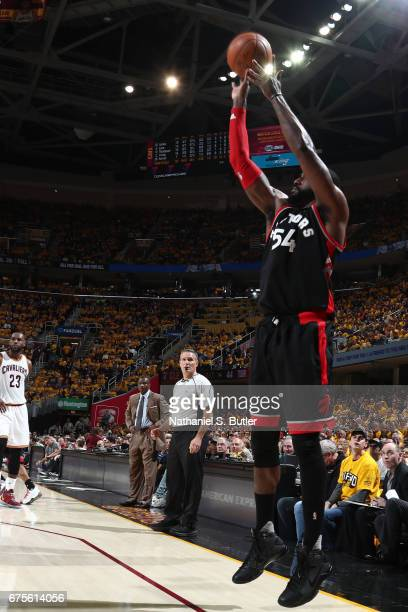 Patrick Patterson of the Toronto Raptors shoots the ball against the Cleveland Cavaliers in Game One of the Eastern Conference Semifinals of the 2017...