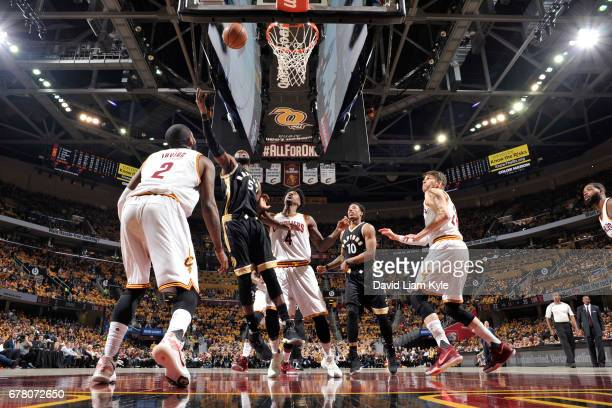 Patrick Patterson of the Toronto Raptors shoots the ball' against the Cleveland Cavaliers during Game Two of the Eastern Conference Semifinals of the...